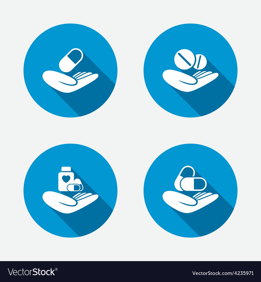 Helping hands icons medical health insurance vector   Price: 1 Credit (USD $1)