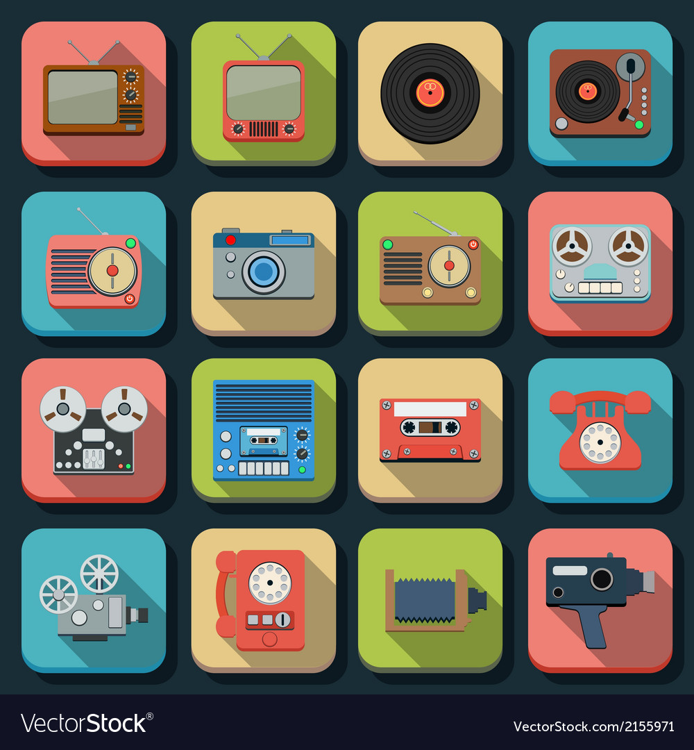 Retro electronic flat icons vector | Price: 1 Credit (USD $1)