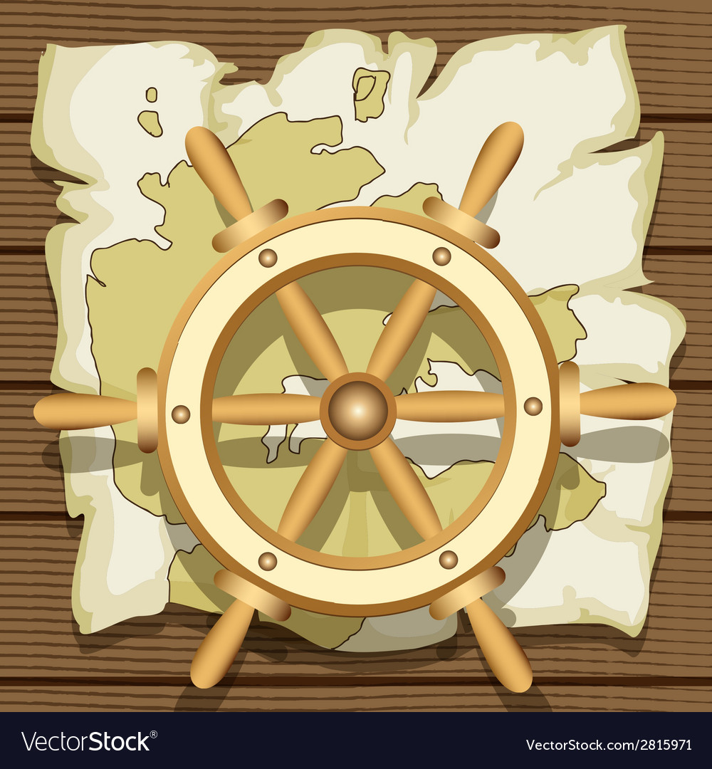 Steering wheel and map vector | Price: 1 Credit (USD $1)