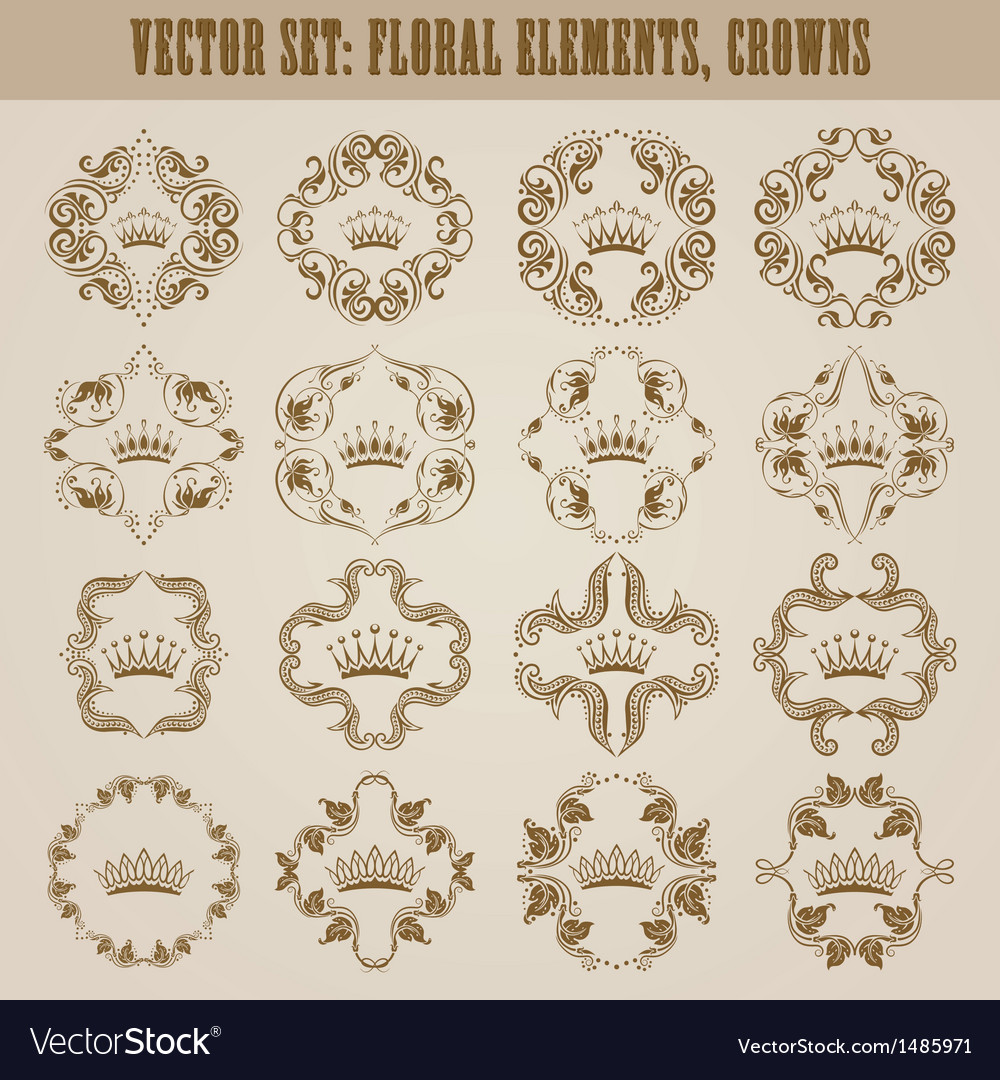 Victorian crown and decorative elements vector | Price: 1 Credit (USD $1)