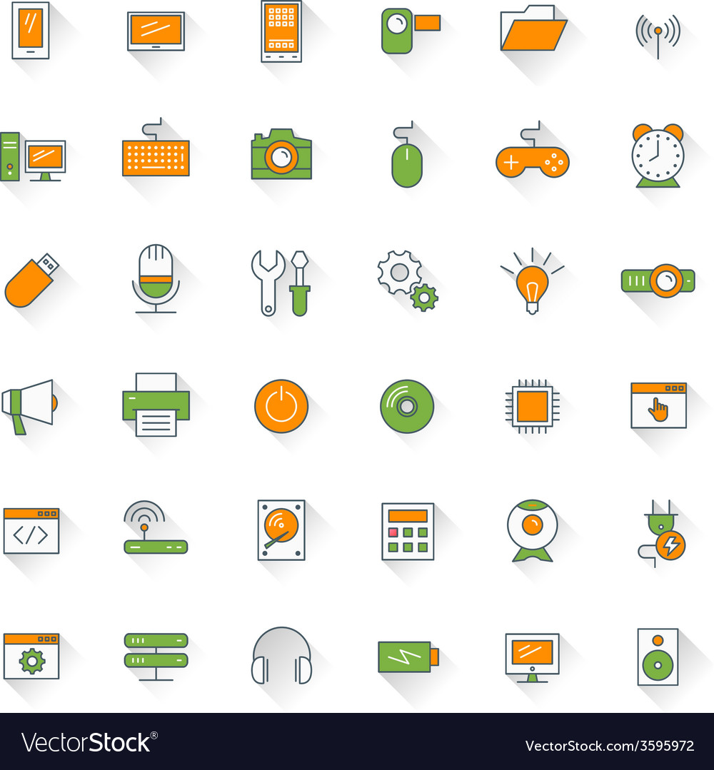 Computer and technology flat design icon set vector | Price: 1 Credit (USD $1)