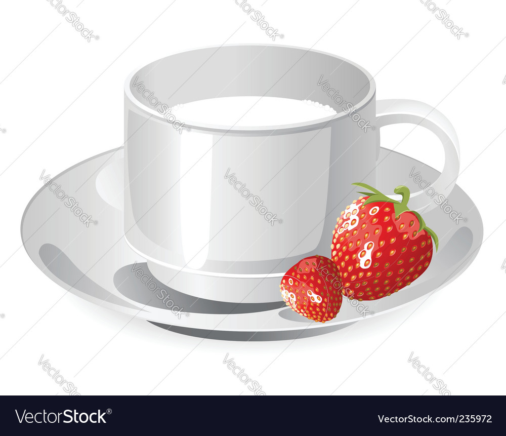 Cup of milk and strawberry vector | Price: 1 Credit (USD $1)