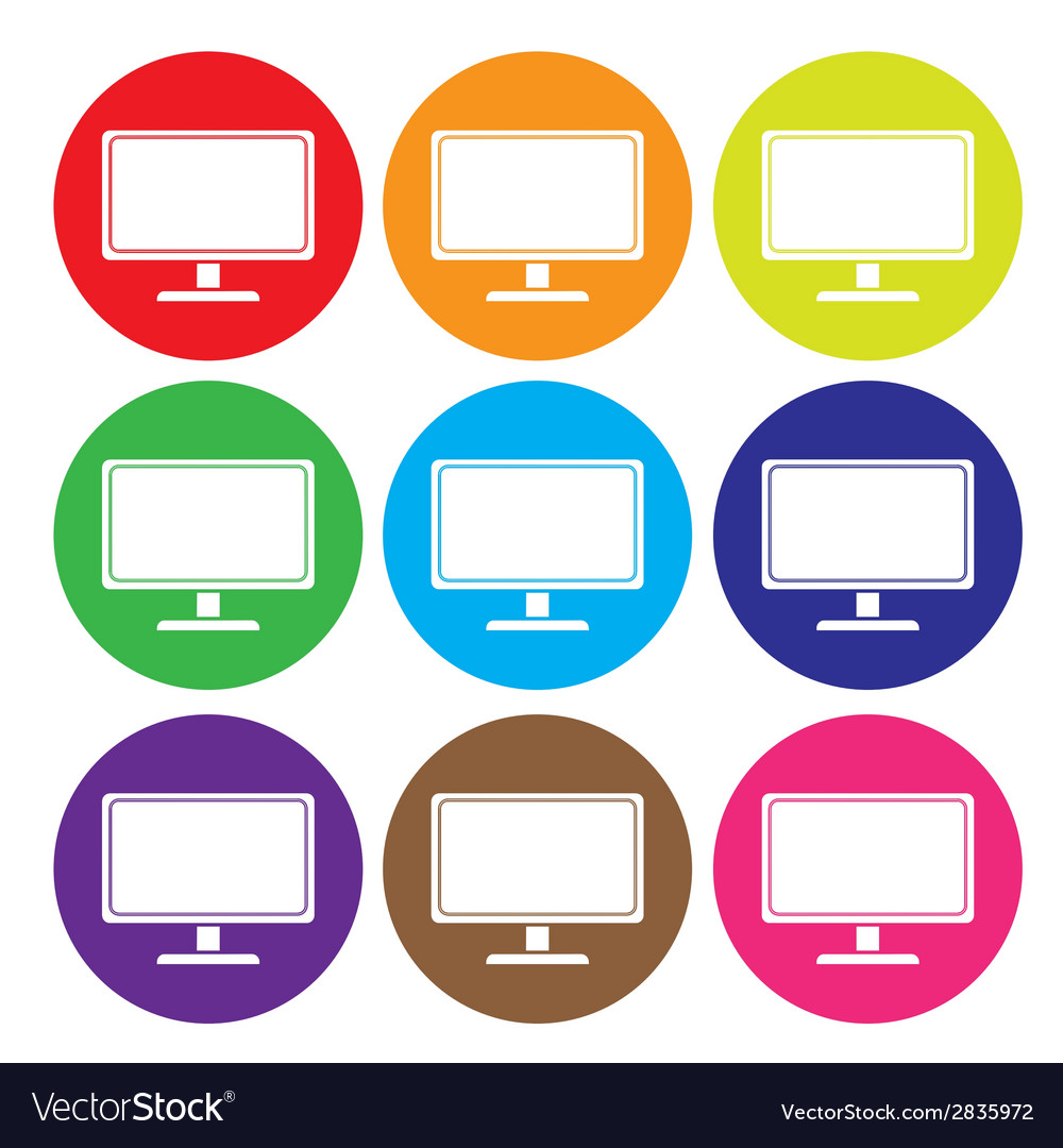 Desktop computer icon set vector | Price: 1 Credit (USD $1)
