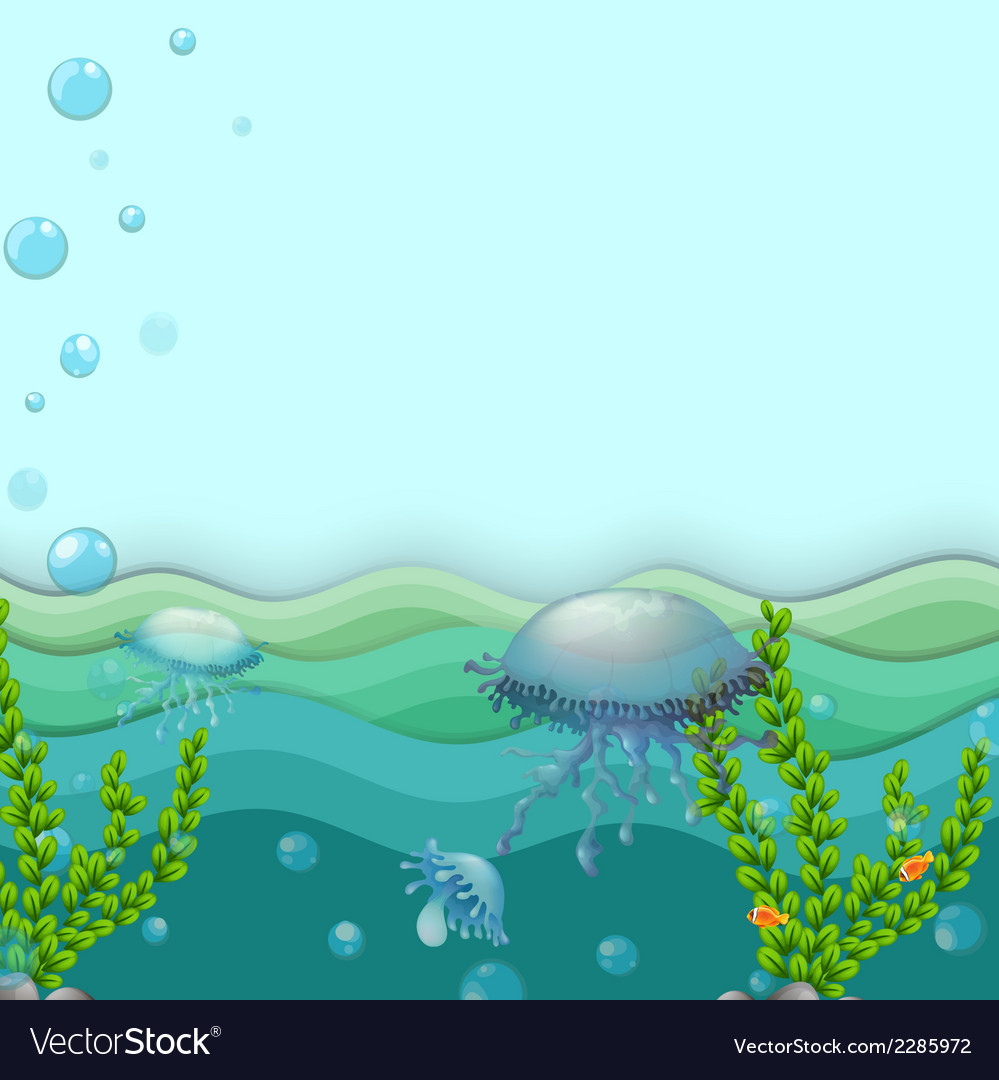 Jellyfishes under the sea vector | Price: 1 Credit (USD $1)