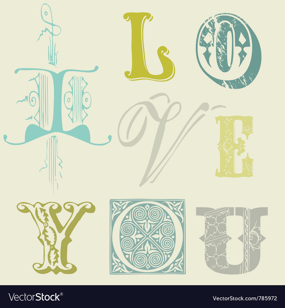 Vintage letters vector   Price: 1 Credit (USD $1)
