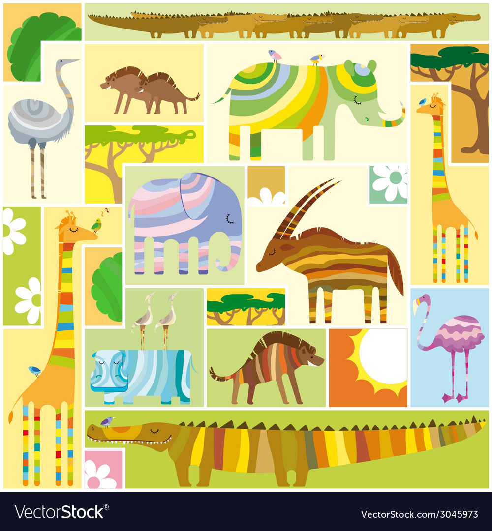 African animals tetris collage vector | Price: 1 Credit (USD $1)