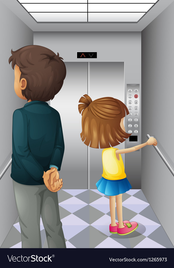 An elevator with a man and a young girl vector | Price: 1 Credit (USD $1)