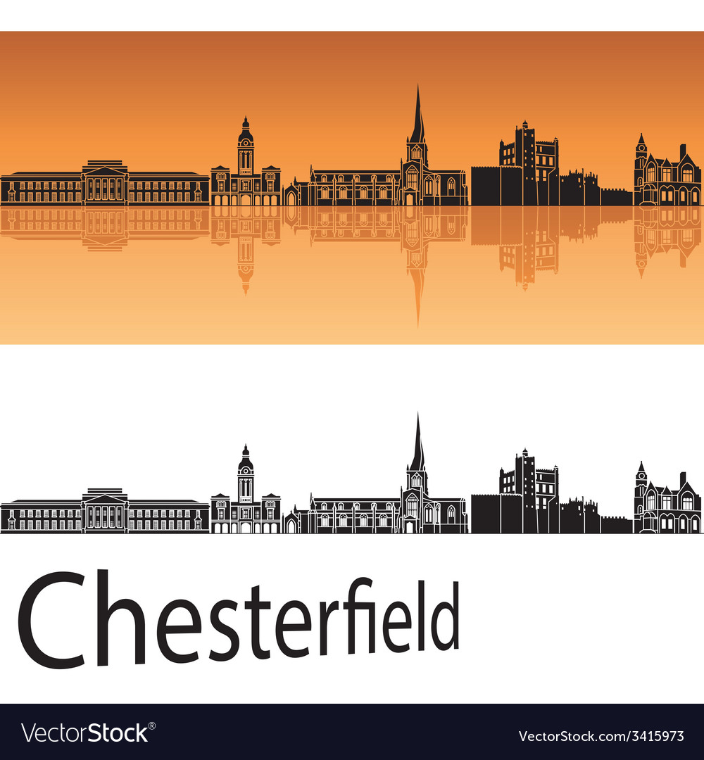 Chesterfield skyline in orange background vector | Price: 1 Credit (USD $1)