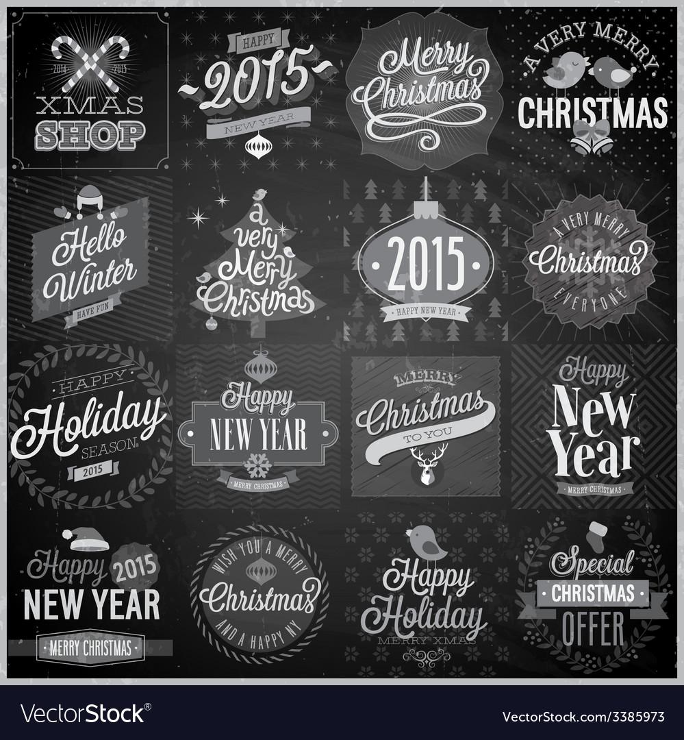 Christmas emblems set chalkboard vector | Price: 3 Credit (USD $3)