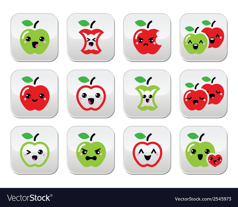 Cute red apple and green apple kawaii buttons set vector | Price: 1 Credit (USD $1)