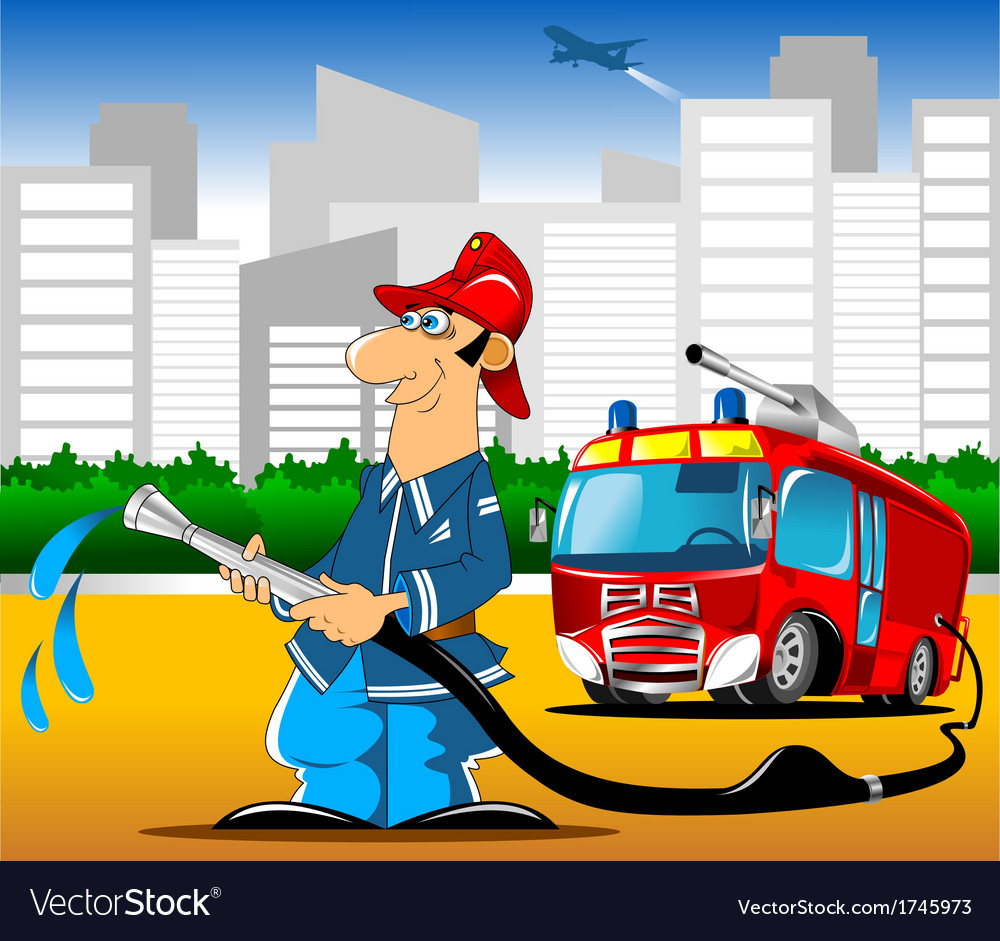 Fireman with hose vector | Price: 1 Credit (USD $1)