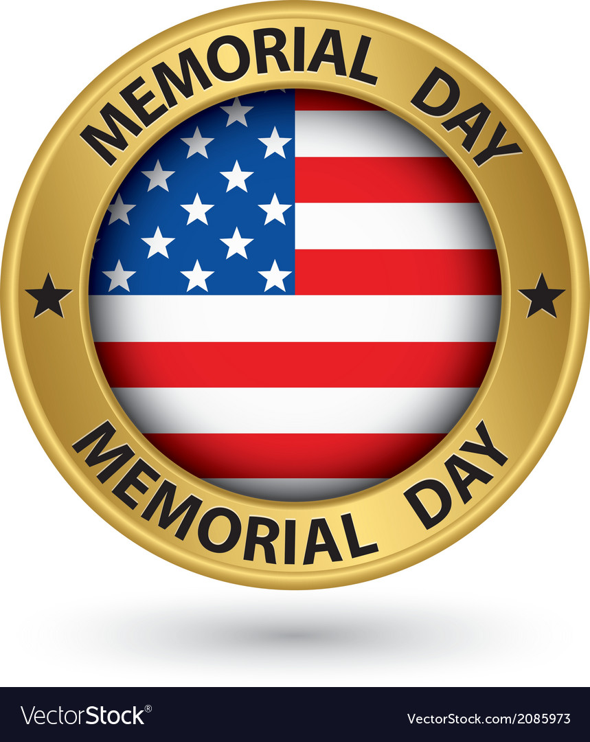 Memorial day gold label with usa flag vector | Price: 1 Credit (USD $1)