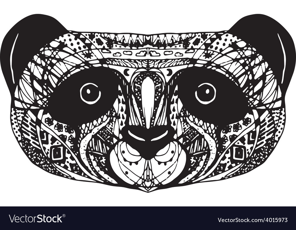 Panda on white background hand-drawing head vector | Price: 1 Credit (USD $1)