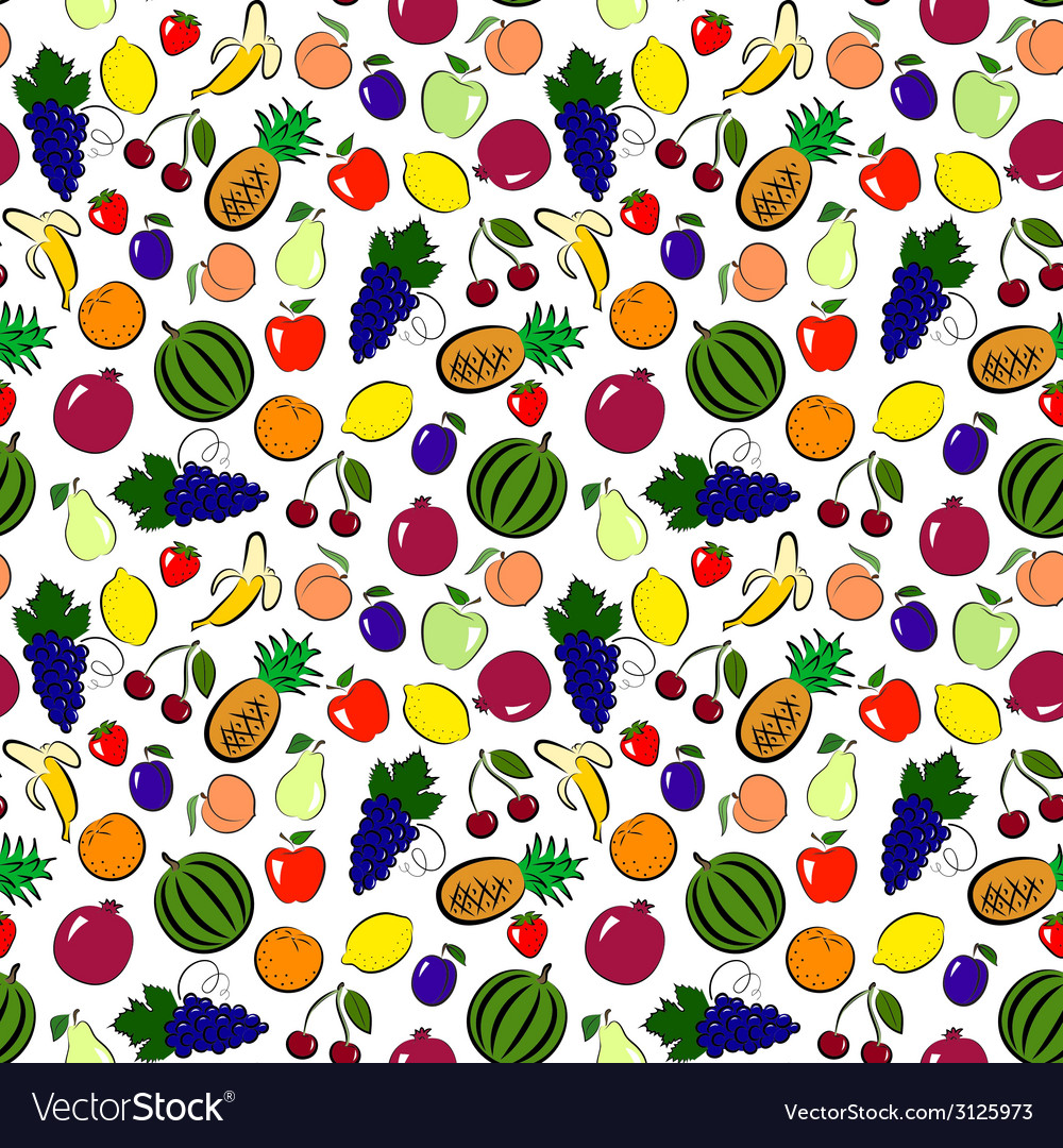 Seamless fruits background vector | Price: 1 Credit (USD $1)