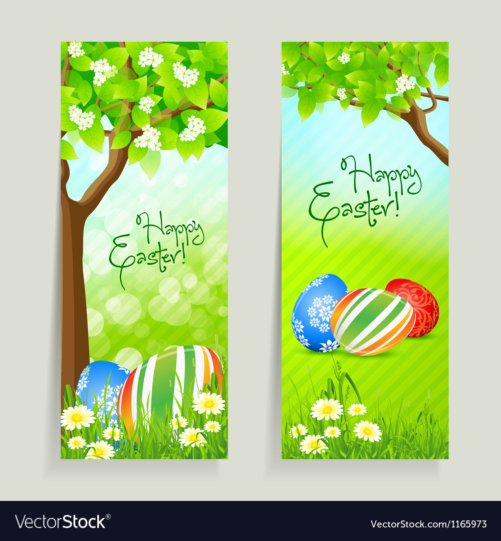Set of easter cards with grass and tree vector | Price: 1 Credit (USD $1)