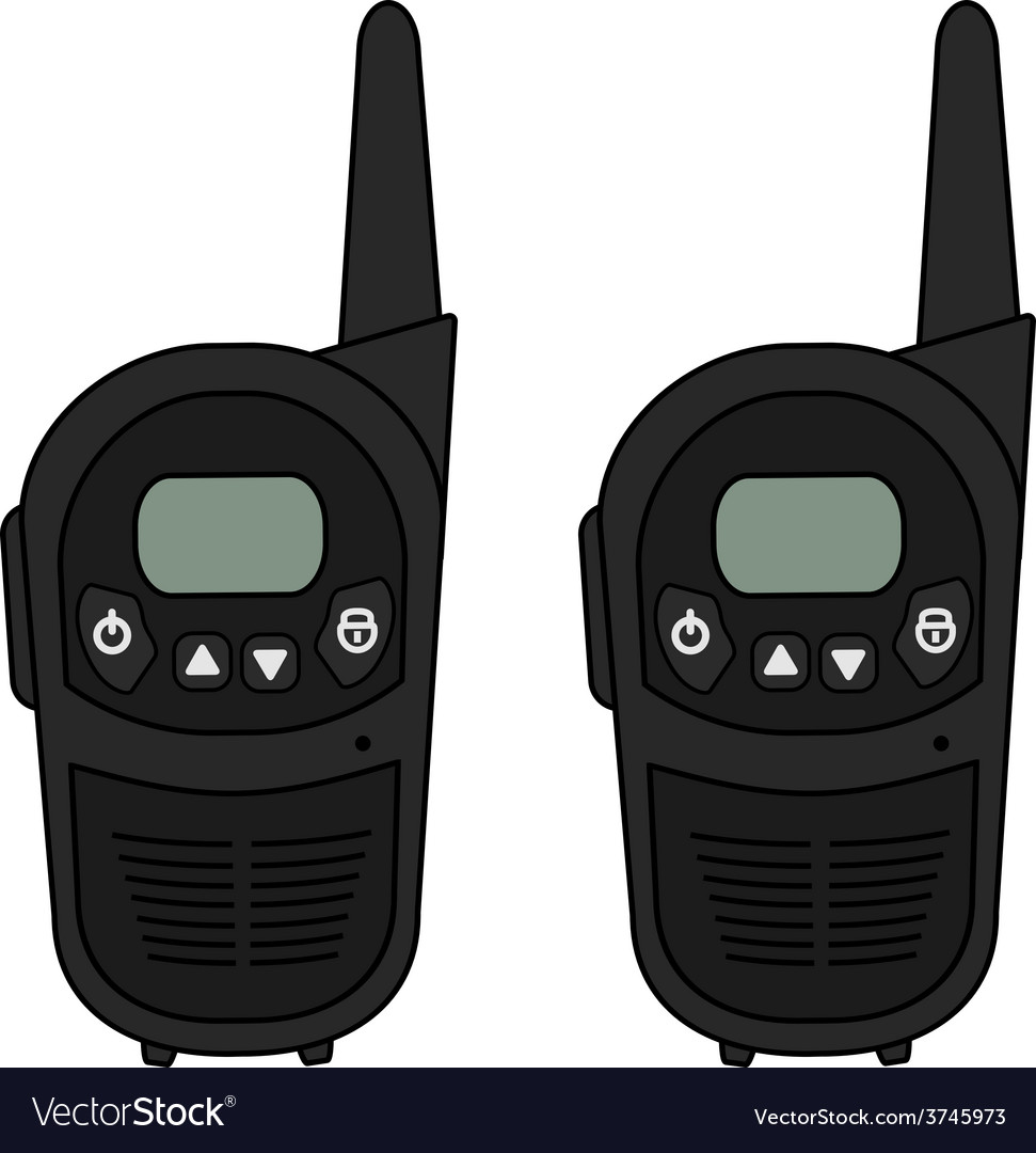 Two travel black radio set devices vector | Price: 1 Credit (USD $1)