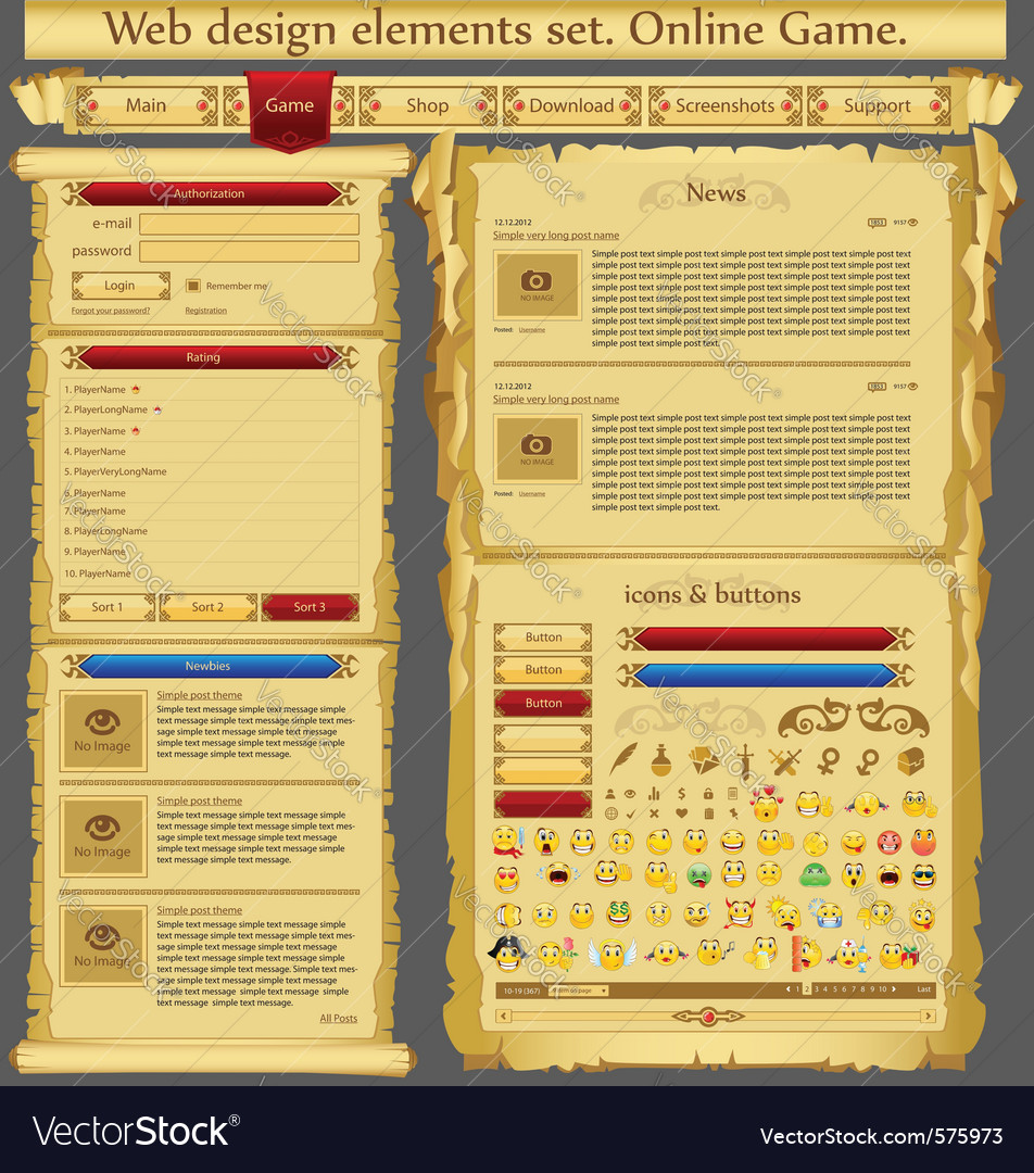 Web design elements set game vector | Price: 1 Credit (USD $1)