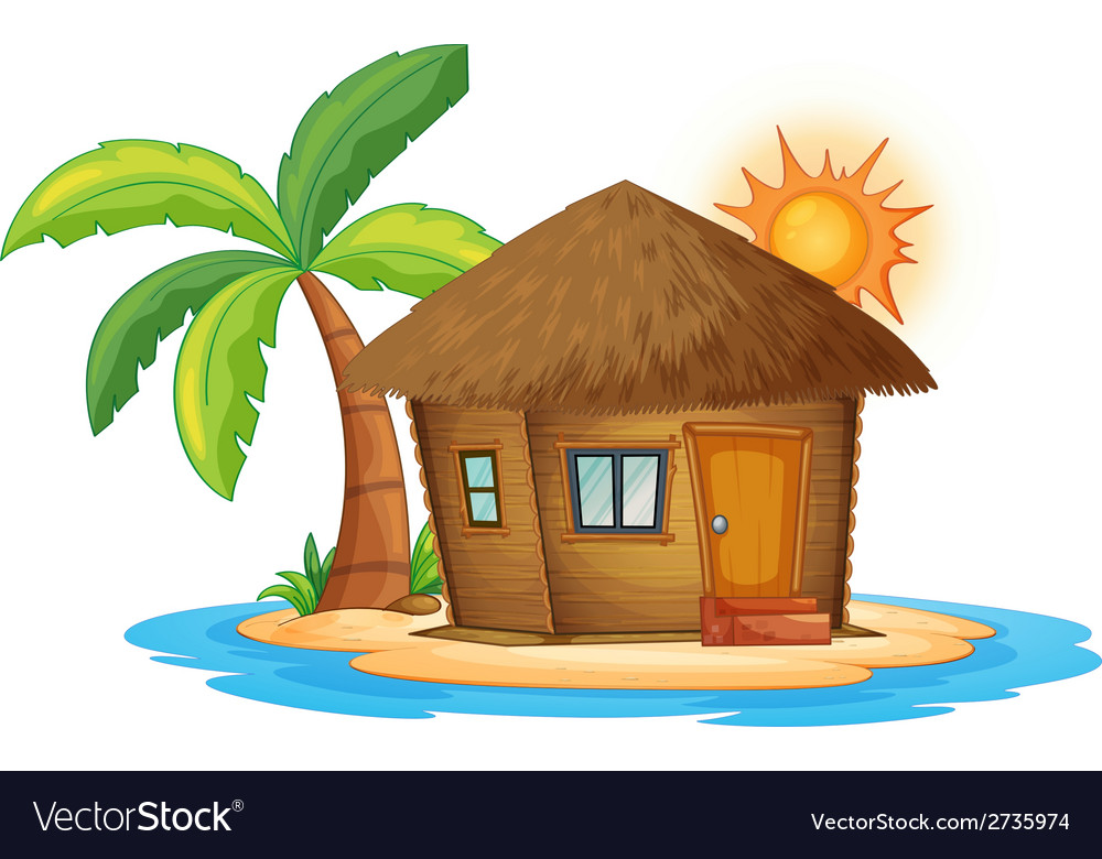 A small nipa hut in the island vector | Price: 1 Credit (USD $1)