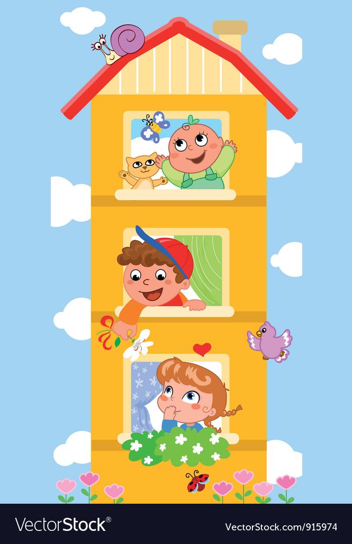 Cartoon building with cutte children vector | Price: 1 Credit (USD $1)