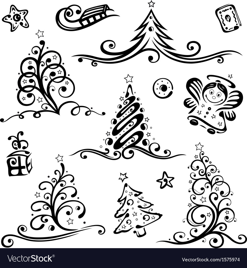 Christmas trees angel vector | Price: 1 Credit (USD $1)