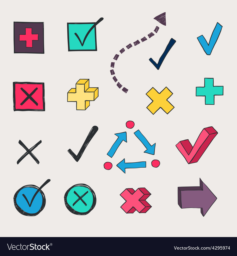 Colorful check marks and check boxes drawn vector | Price: 1 Credit (USD $1)