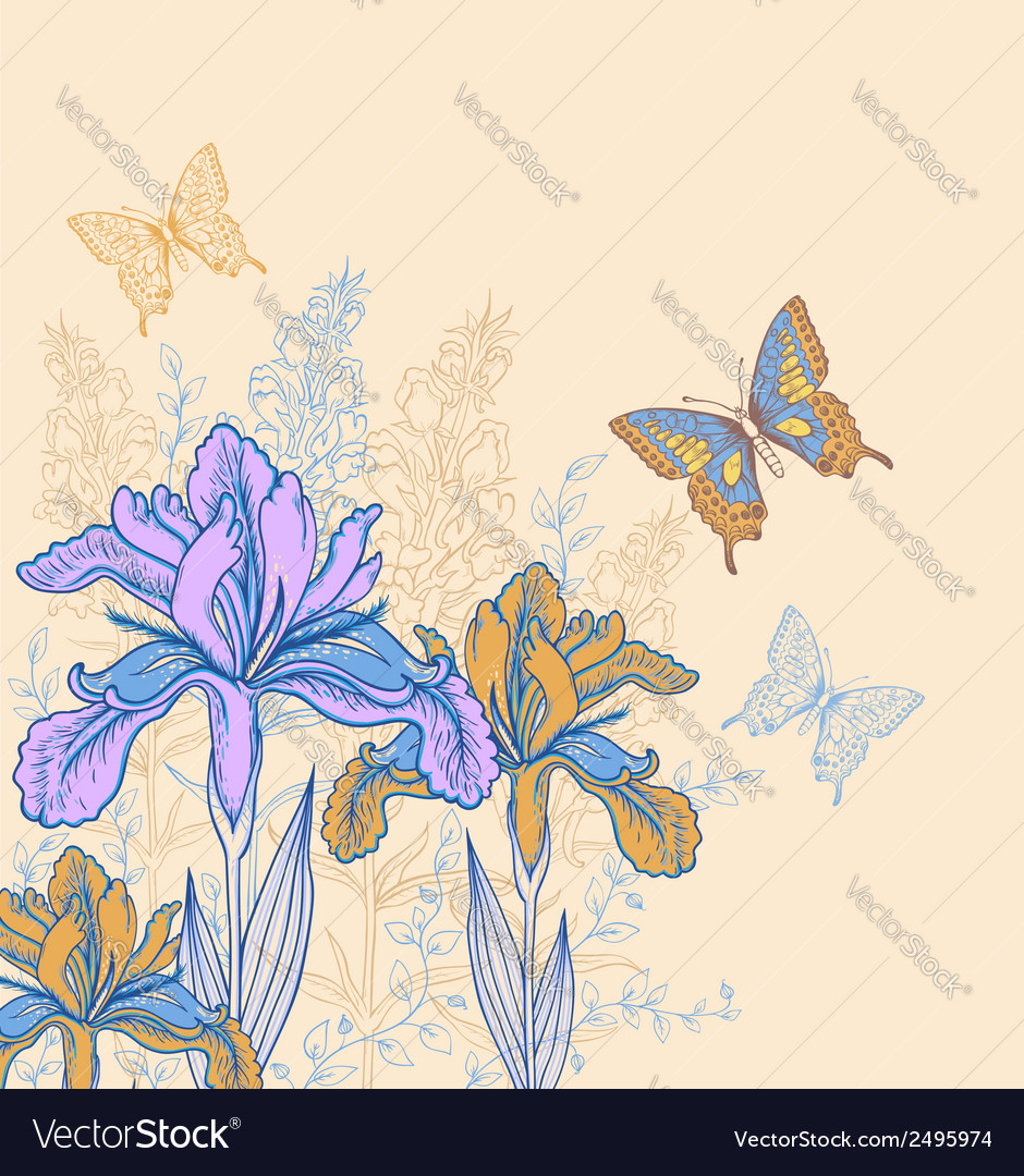 Decorative background with flowers and butterflies vector | Price: 1 Credit (USD $1)