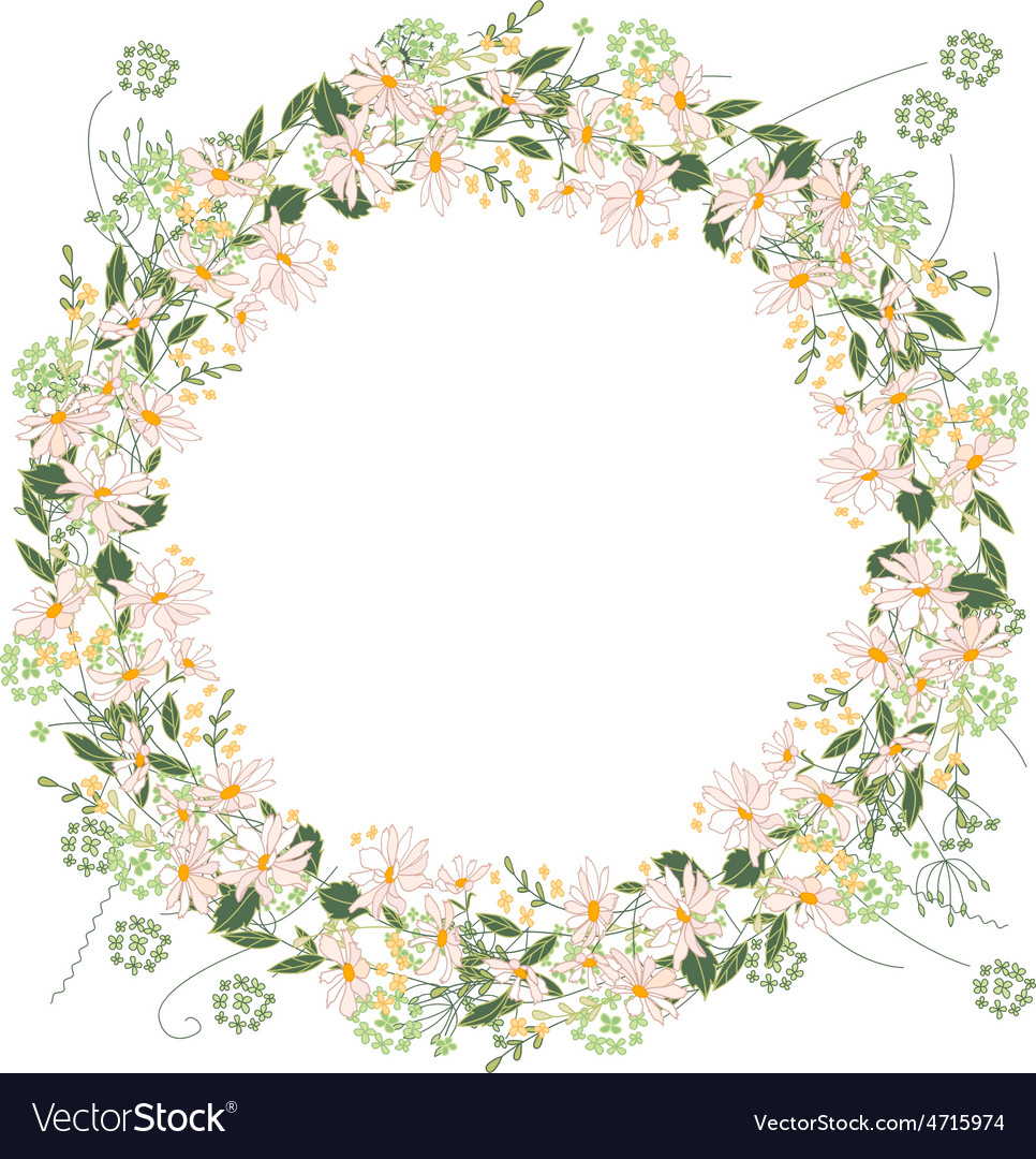 Detailed contour wreath with herbs daisy and wild vector   Price: 1 Credit (USD $1)