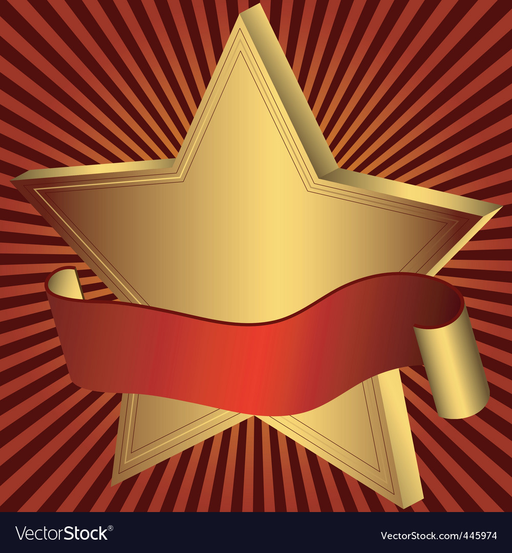 Gold star with red ribbon vector | Price: 1 Credit (USD $1)