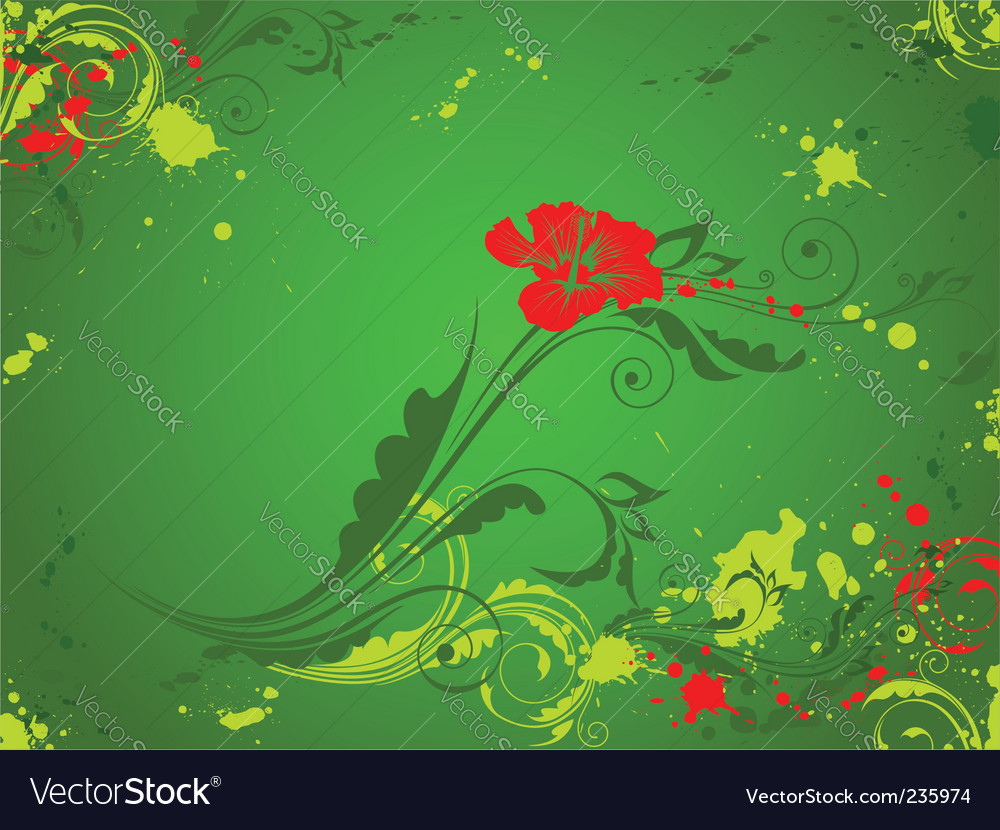 Green background with red flower vector | Price: 1 Credit (USD $1)