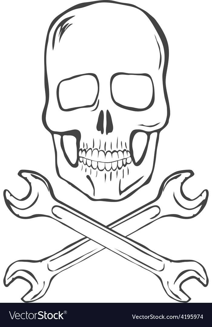 Hand draw skull with crossed wrenches vector | Price: 1 Credit (USD $1)