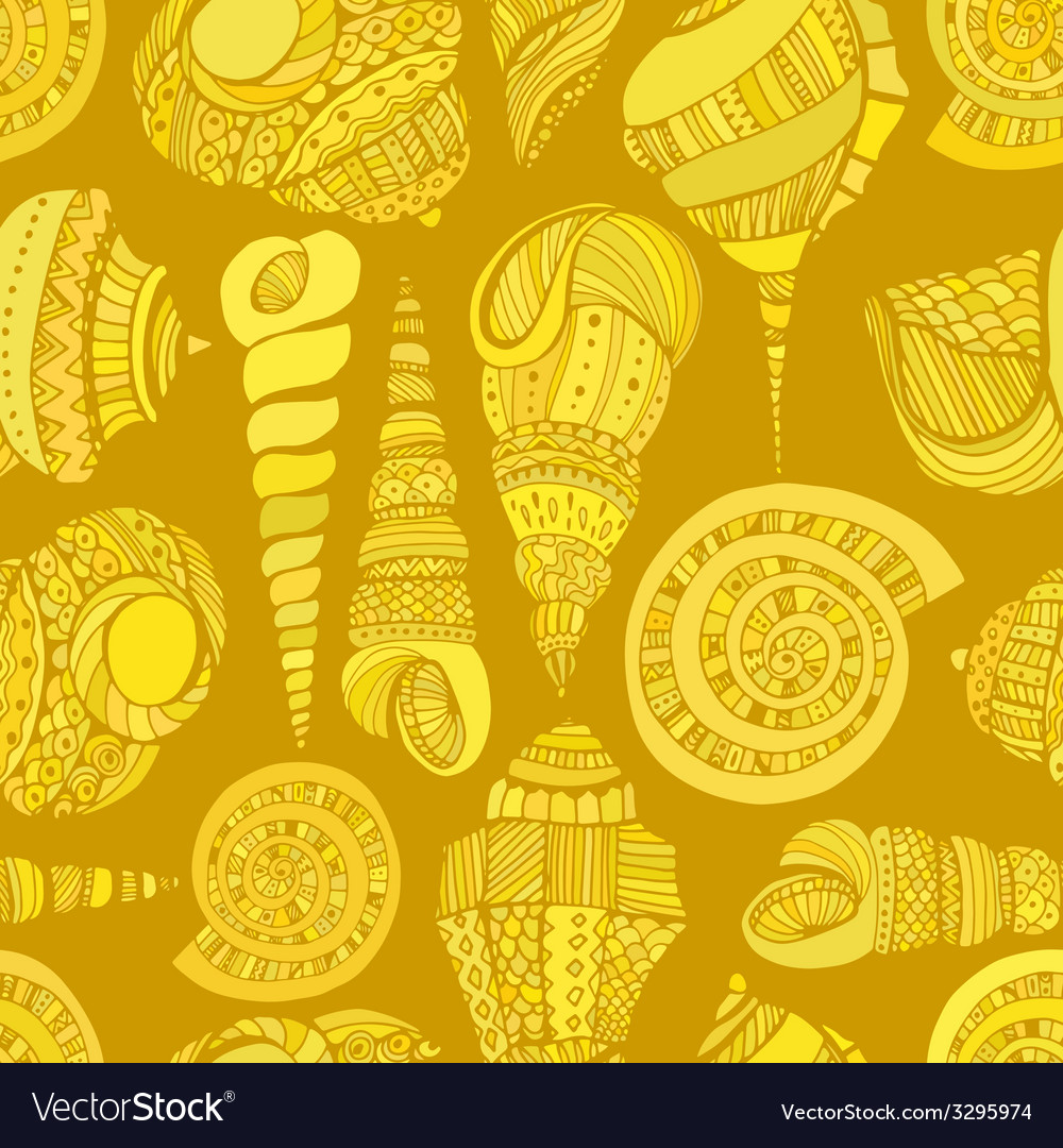 Seashell seamless pattern vector | Price: 1 Credit (USD $1)