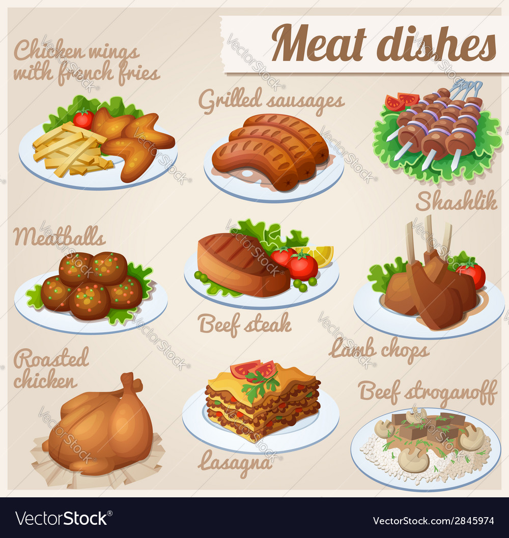 Set of food icons meat dishes vector | Price: 3 Credit (USD $3)