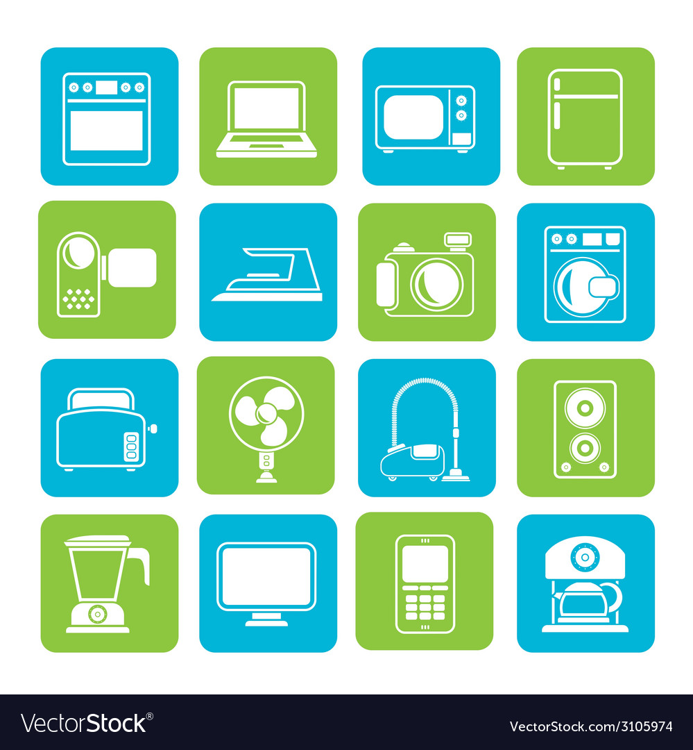 Silhouette household appliances and electronics vector | Price: 1 Credit (USD $1)