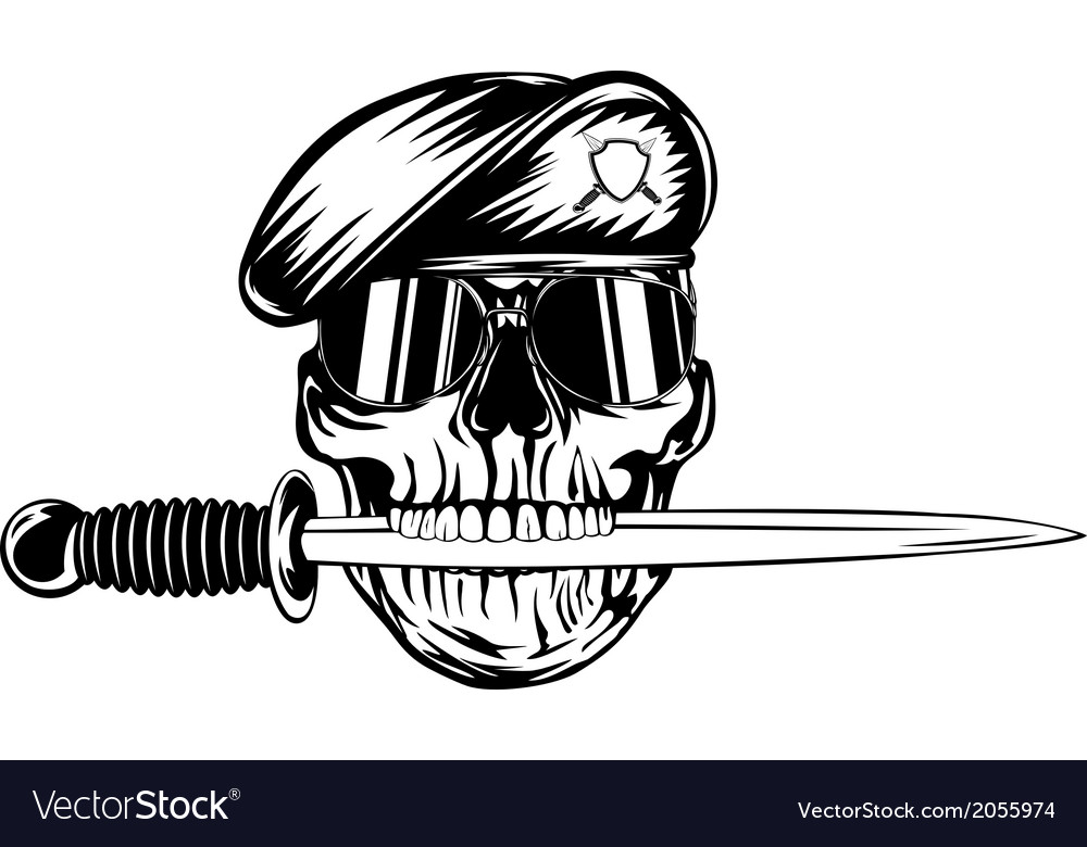 Skull in beret with dagger vector | Price: 1 Credit (USD $1)