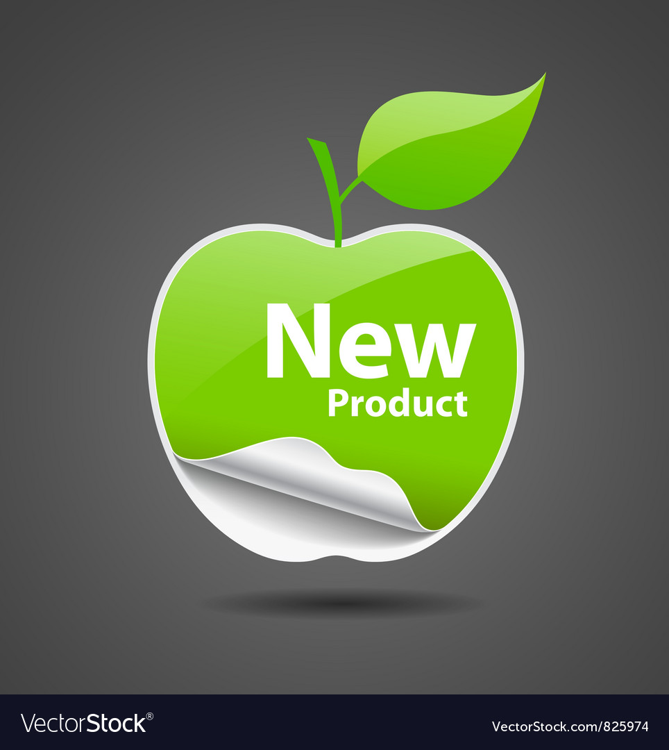 Sticker green apple price tag vector | Price: 1 Credit (USD $1)