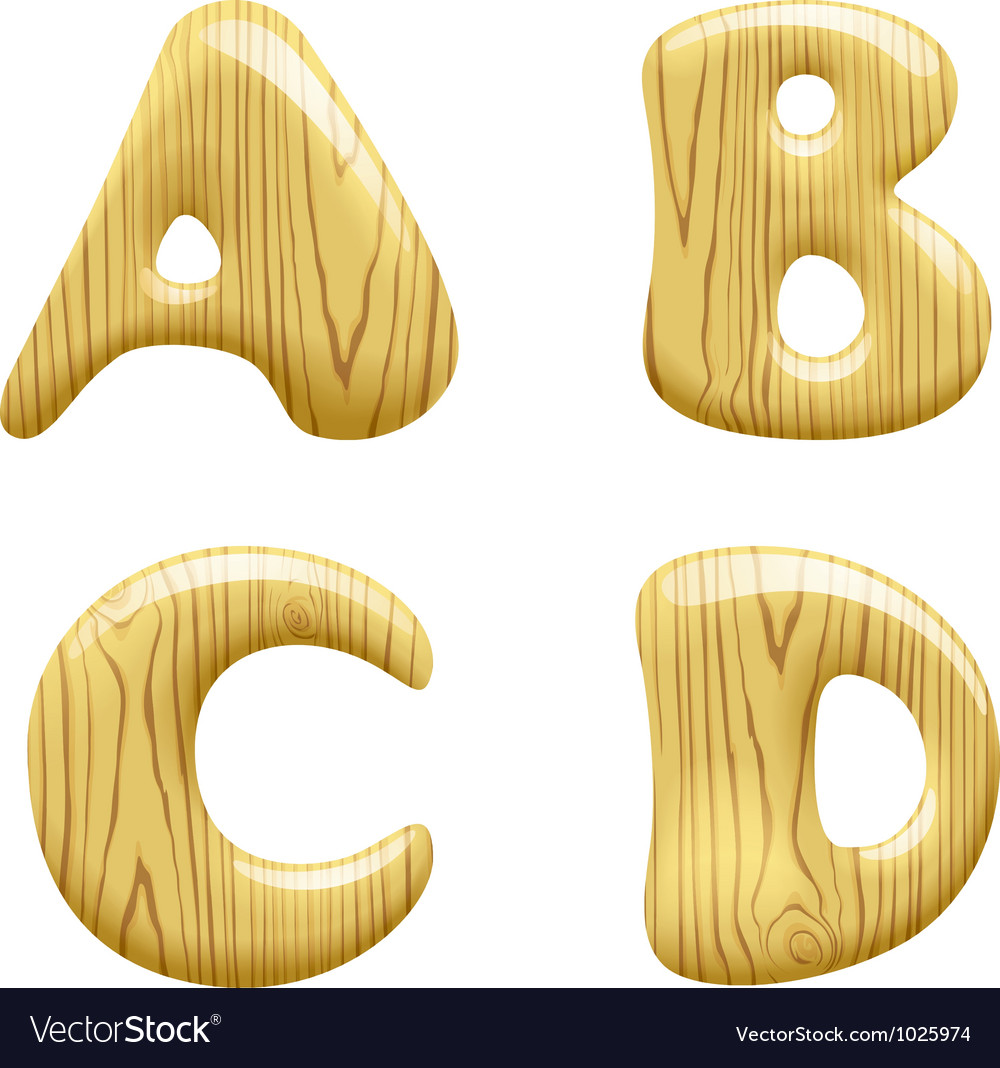 Wood alphabet letters vector