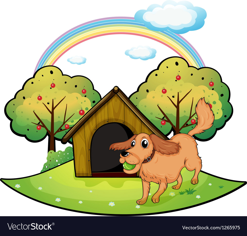 A dog playing outside the doghouse near the apple vector | Price: 1 Credit (USD $1)