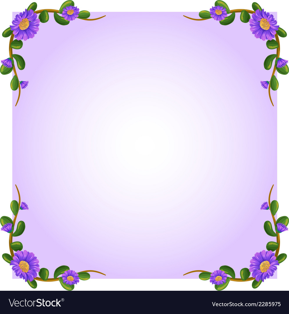 A lavender empty template with plant borders vector | Price: 1 Credit (USD $1)