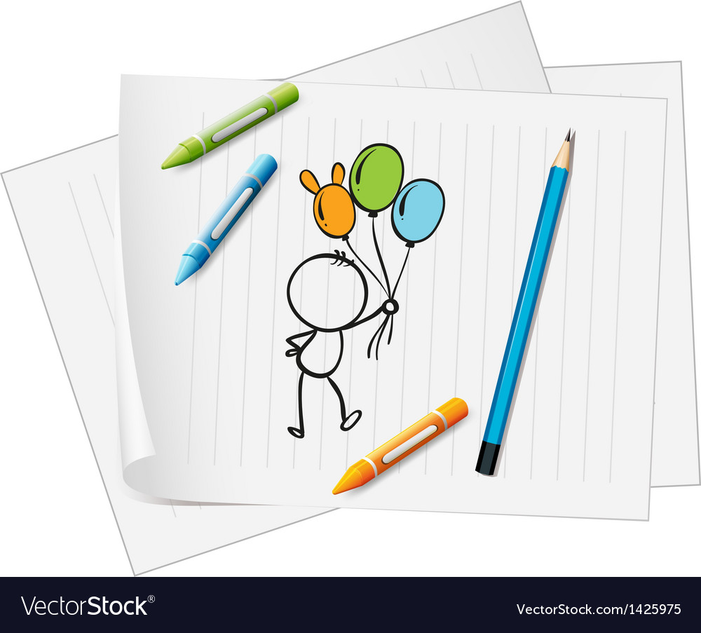 A paper with a drawing of a pencil crayons and a vector | Price: 1 Credit (USD $1)