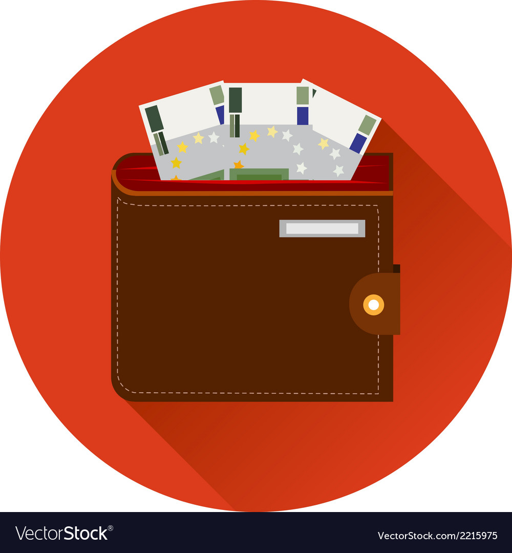 Cash symbol purse with euro money icon template on vector | Price: 1 Credit (USD $1)