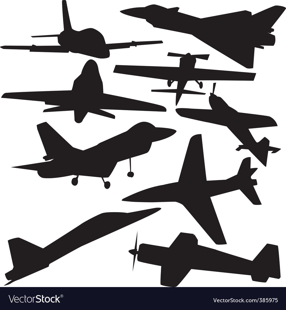 Ctor silhouette of airplanes vector | Price: 1 Credit (USD $1)