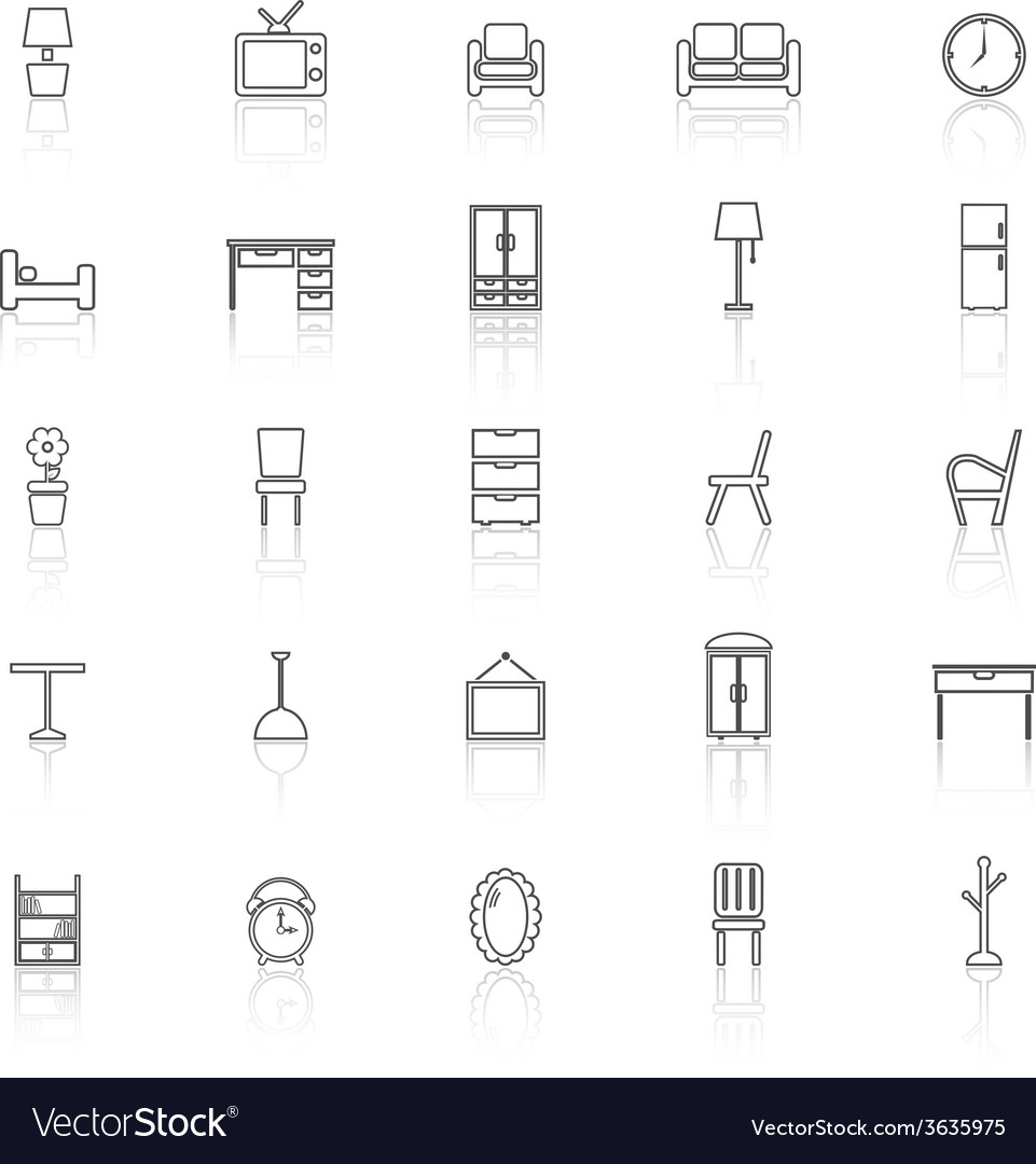 Furniture line icons with reflect on white vector | Price: 1 Credit (USD $1)