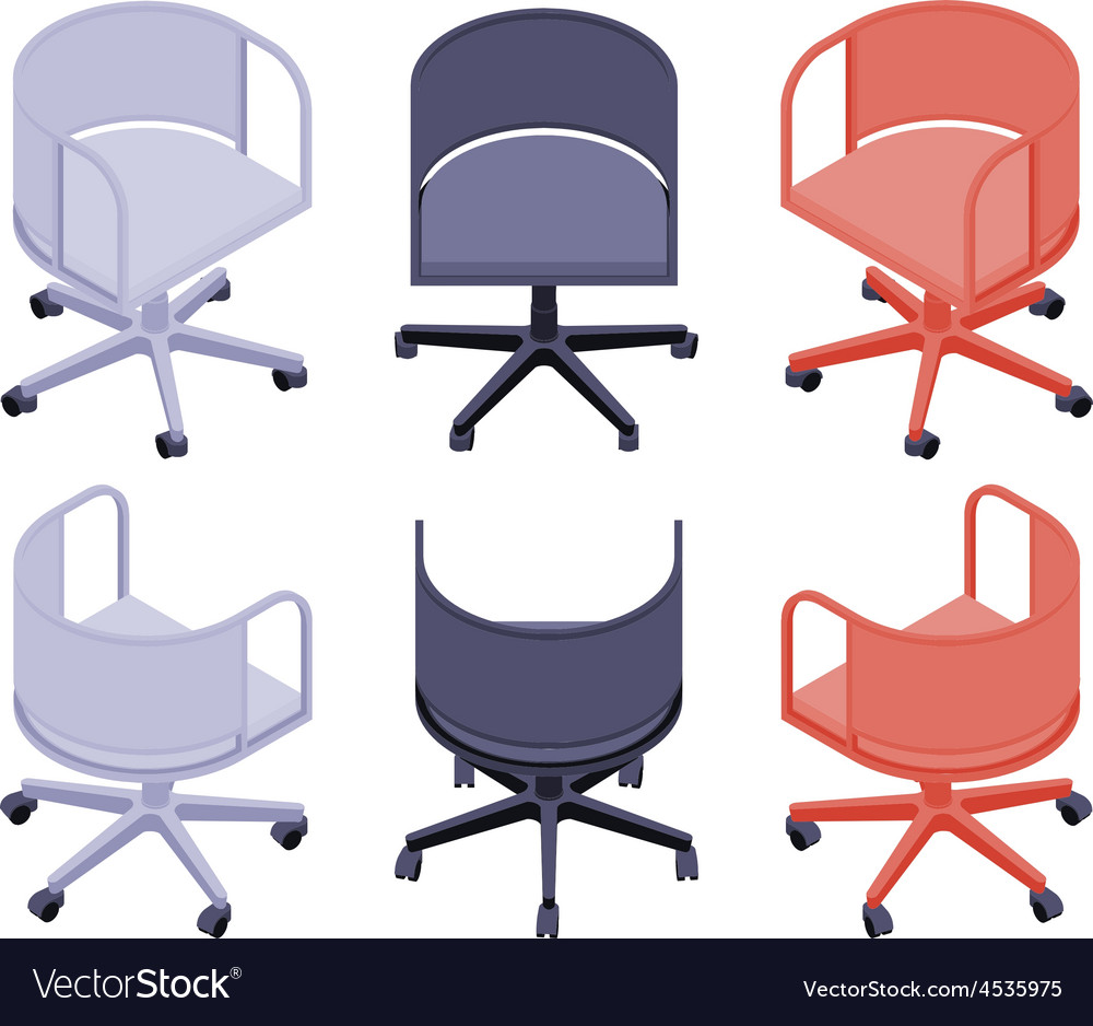 Isometric office colored chairs vector | Price: 1 Credit (USD $1)
