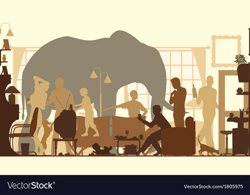 Living room elephants vector | Price: 1 Credit (USD $1)