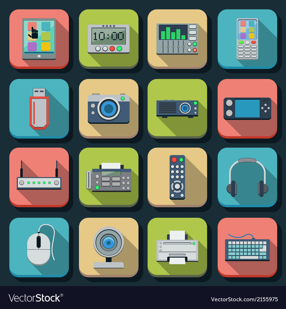 Modern electronic flat icons vector | Price: 1 Credit (USD $1)