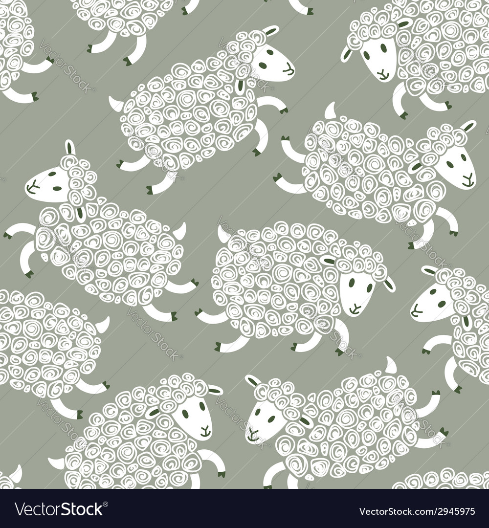 Seamless pattern with cute sheep vector | Price: 1 Credit (USD $1)