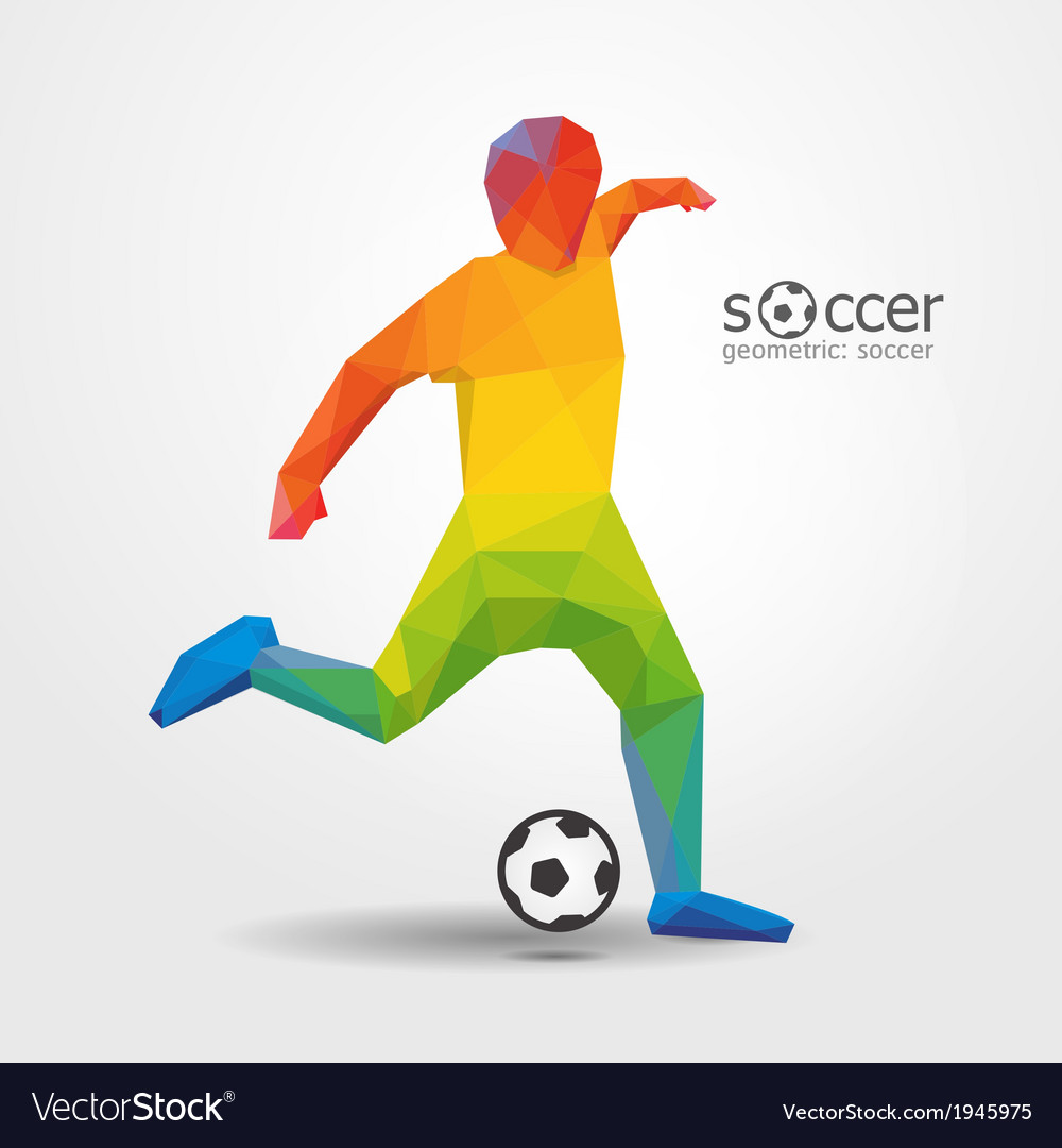 Soccer football kick striker player geometric vector | Price: 1 Credit (USD $1)