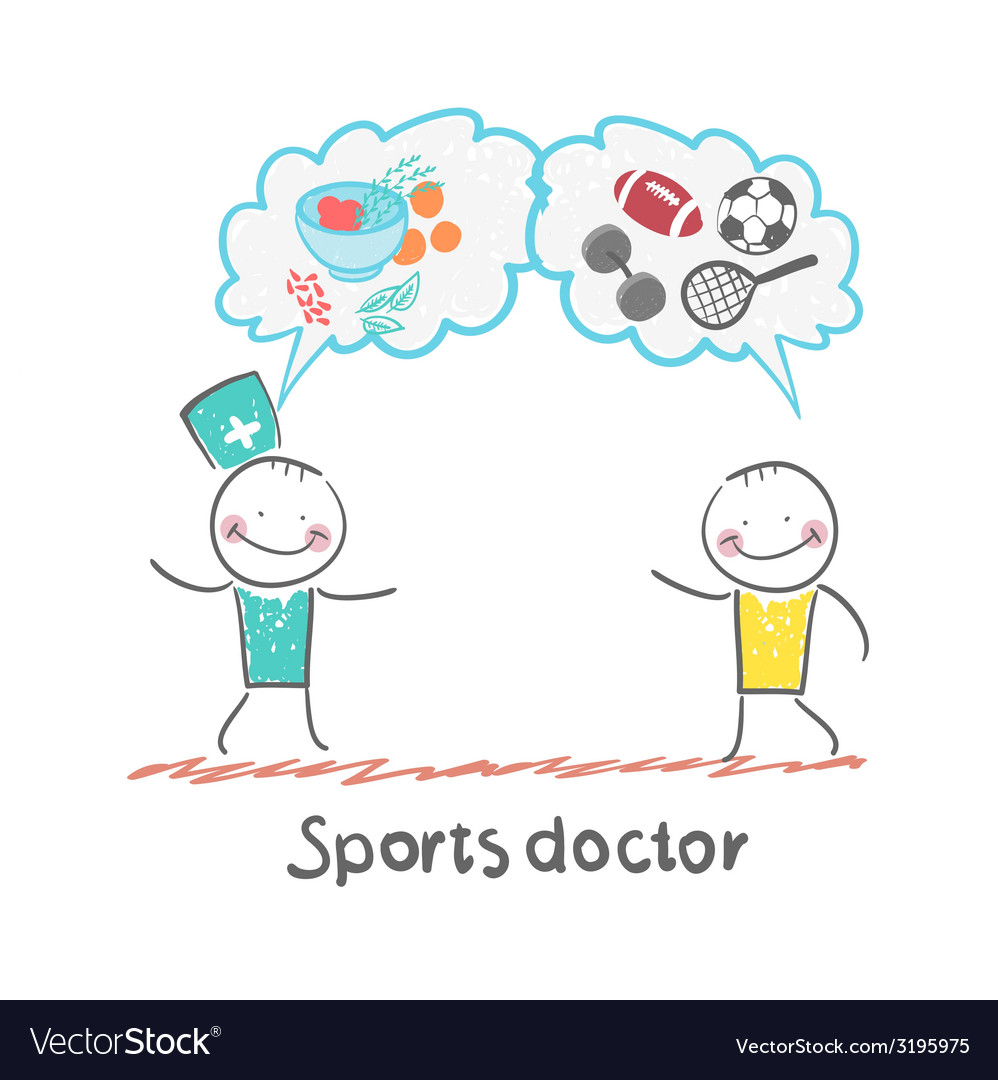 Sports doctor speaks to man of sport and healthy vector | Price: 1 Credit (USD $1)