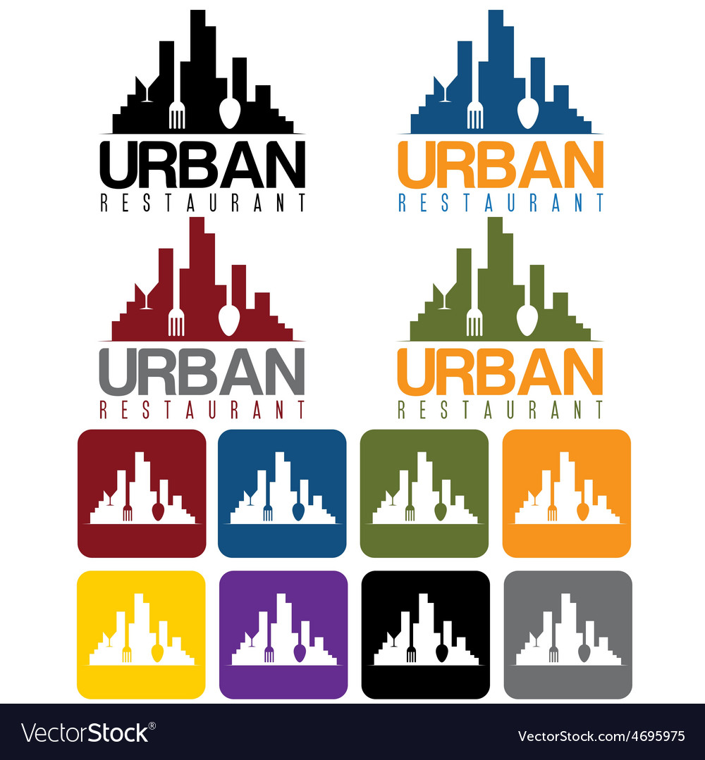 Urban restaurant concept and icon set vector | Price: 1 Credit (USD $1)