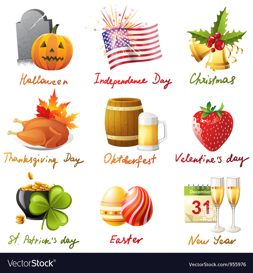 All holidays vector | Price: 3 Credit (USD $3)